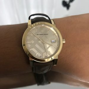 Womans leather Burberry watch